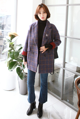 Glen check brooch quilted jacket