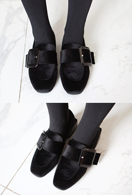 Big square buckle velvet fur heeled loafers