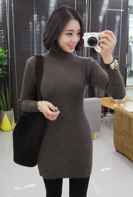 Paula slim knit dress corrugated