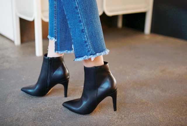 Stiletto Heel Fur Ankle Boots