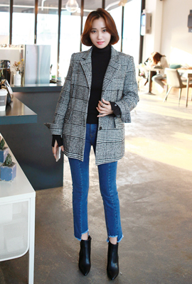 Glen check quilted jacket