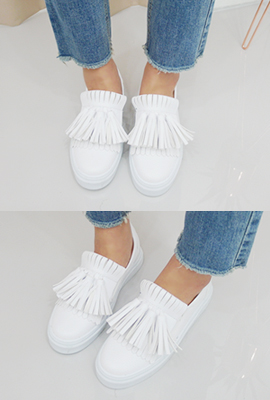 Slip-on leather tassel fringe