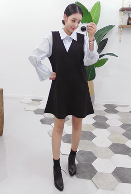 Shirt layered flare dress (secondary stock)