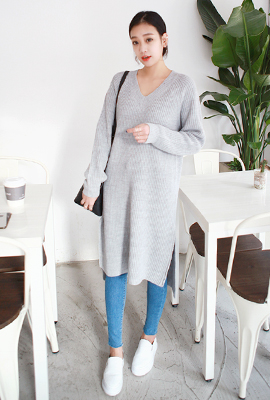 Deep V-neck long knit tees teuim
