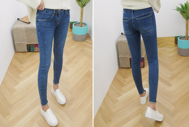 Wash scratch skinny jeans (Stock Eleventh)