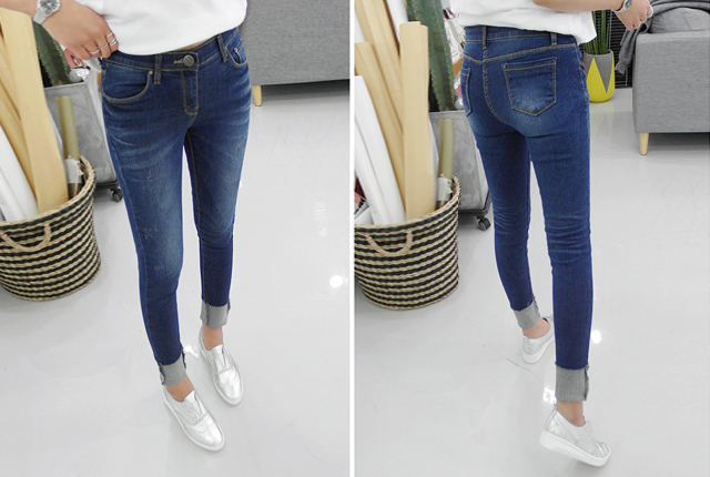 Vintage wash skinny jeans banding (9 th stock)