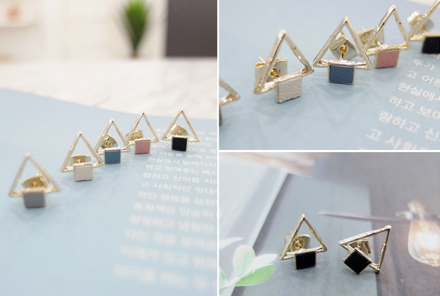 Tri-leather square earring (19th stock)