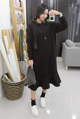 Twist, brushed hooded Long Dress