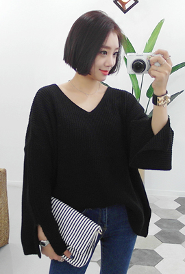 Wide V-neck knit tee teuim (7th stock)