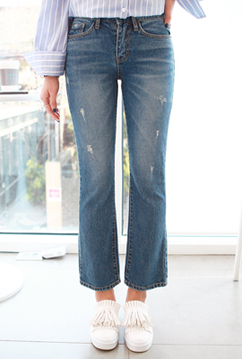 Three Damage boot-cut denim pants