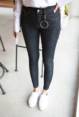 Circle ring dough coated skinny jeans