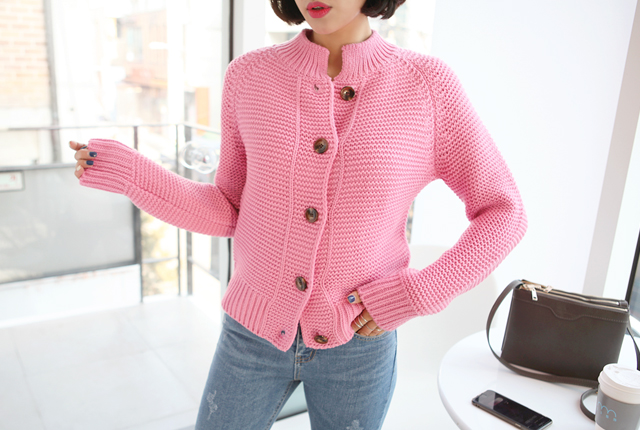 Half-neck knit cardigan button (secondary stock)