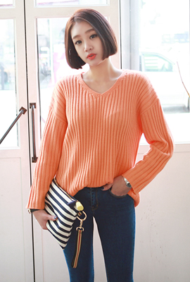 Corrugated knit V-neck tee (7th stock)