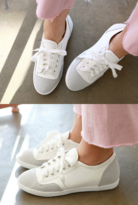 Mix leather sneakers tonggup