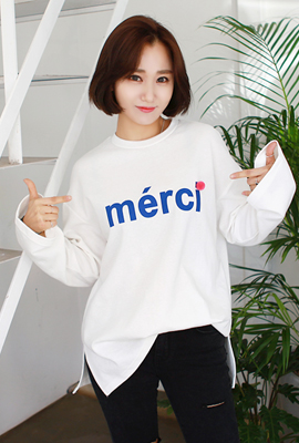 English drop printing long-sleeved tee (secondary stock)
