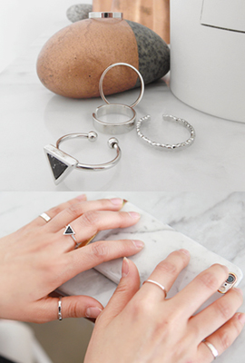 Tri-gemstone open ring SET (2 cars in stock)