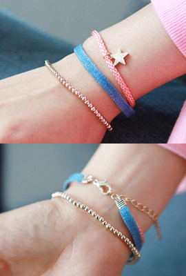 Star Denim ball bracelet SET