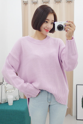 Wide sleeves knit tee teuim (secondary stock)