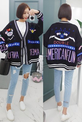 Embroidered patch cardigan