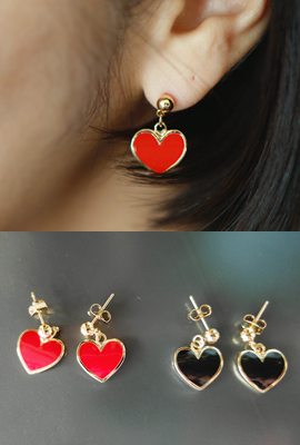 Heart gold ball earrings