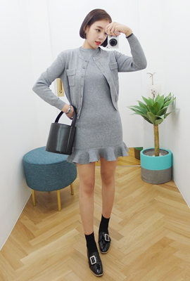 Pocket cardigan knit dress set