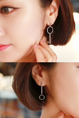 Mix Circle Chain Earring (2nd stock)