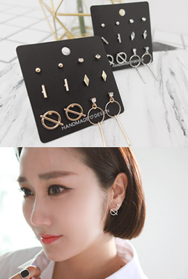 Cubic Circle Earring SET (3rd stock)