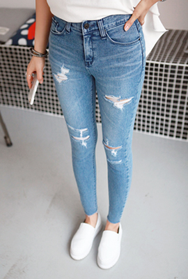 Disperse cut skinny jeans (secondary stock)
