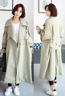 Leather strap trench coat (4th stock)