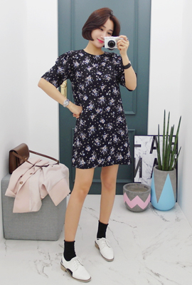 Flower Ruched Mini Dress
