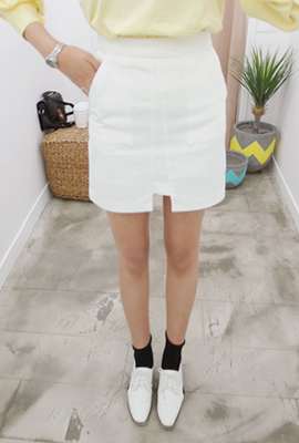 Two pocket incision teuim skirt
