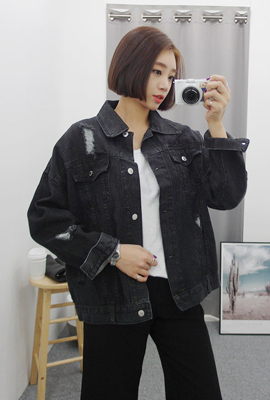 Damage vintage denim jacket