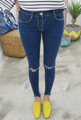 Unique sweip cut skinny jeans