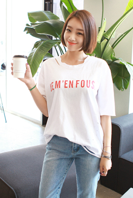 Red relief printing short-sleeved T