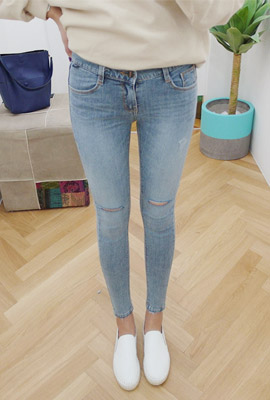 Double-cut slim skinny jeans (secondary stock)
