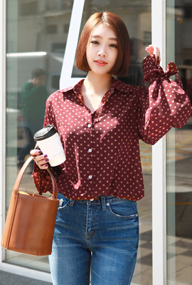 Dot ribbon strap blouse