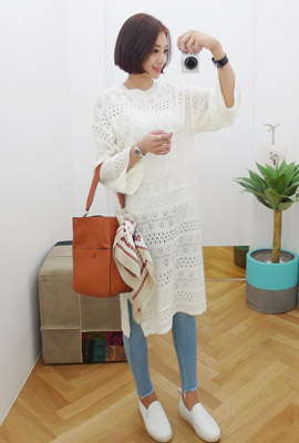 Punching mix weave knit Long Tea (restocked 3rd)