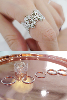 SET flower open ring
