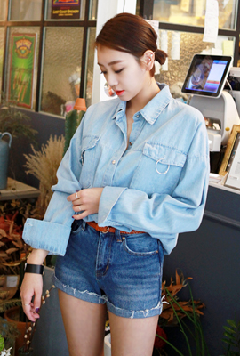 Silver ring denim shirt