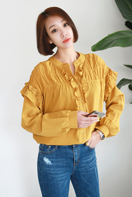 Double ruffle blouse China