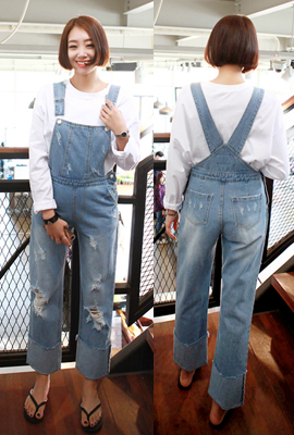 Damage roll up pants with suspenders