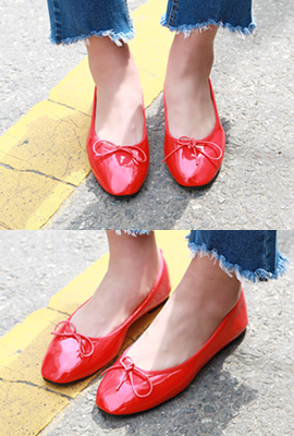 Ribbon enamel flat shoes (second stock)