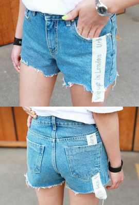 Vintage patch denim shorts