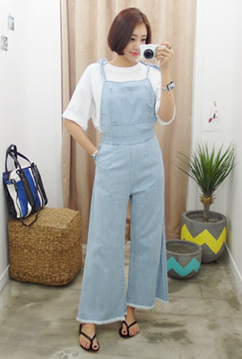 Wide ribbon denim overalls