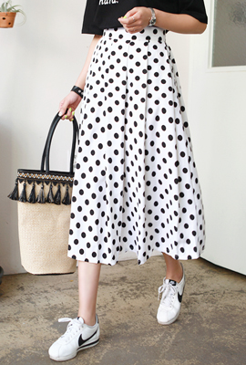 Dot pin tuck Maxi Long Skirt