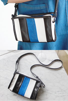 Color leather mini cross bag