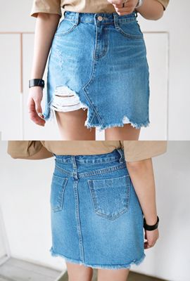 Big damage denim skirt