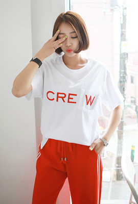 Pocket Cutting Crew Short Sleeve Tee