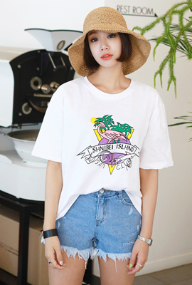Palm tree color printing short sleeve tee
