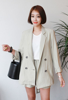 Simple double jacket two-piece set